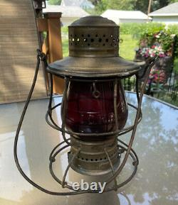 Railroad lantern No 39 with red cast ICRR extended base globe