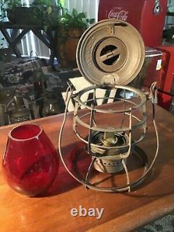 Rare Antique B & M Railroad Lantern With Tall Red Glass Globe
