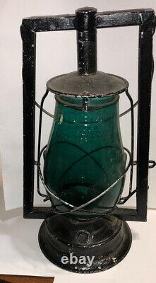 Rare Dietz Embossed Green Teal Loc-Nob Firzall Railroad Lantern Victor Tubular