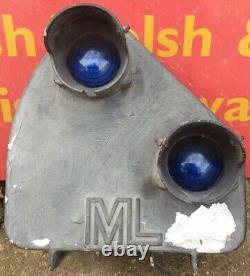 Reclaimed Vintage ML Engineering Railway Train Track Signal Light Blue Lens