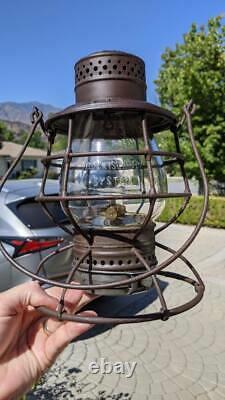Rock Island System 1895 A&w Railroad Lantern Clear Cast Ext Base Globe Original