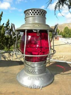 SANTA FE AT&SFRY RAILROAD LANTERN Red Cast AT&SFRy Lantern Globe