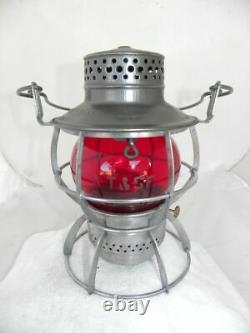 SANTA FE AT&SFRY RAILROAD LANTERN Signal Red Etched AT&SF Lantern Globe