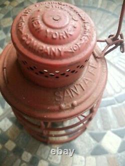 SANTA FE May 1895 ADAMS & WESTLAKE RAILROAD LANTERN CLEAR CAST EXT. BASE GLOBE