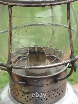 SANTA FE RAILWAY BELL BOTTOM TALL Adams & Westlake Lantern with CAST LOGO GLOBE