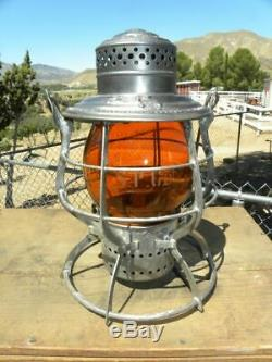 SOUTHERN PACIFIC RAILROAD LANTERN Etched Signal Yellow Lantern Globe