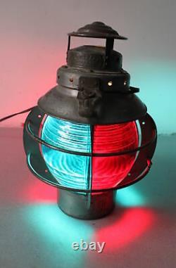 SUPERB c. 1915 Armspear Red & Blue Glass Spherical Railroad Bridge Lantern Lamp