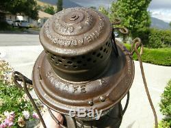 Santa Fe A 1895 A&w Bell Bottom Railroad Lantern Matching Cast Cross Logo Globe