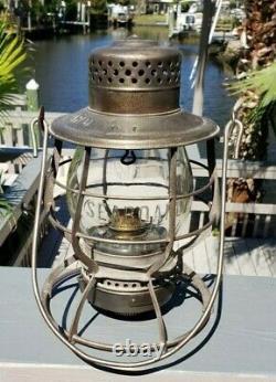 Tall SEABOARD Casey Railroad lantern withclear CNX SEABOARD cast globe