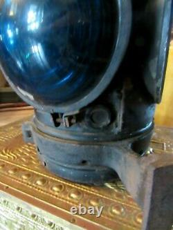 VERY OLD Railroad CABOOSE SIGNAL LAMP Marked, CAST IRON, LIFT TOP AS SHOWN