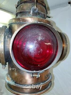 VINTAGE HANDLAN 4 WAY RAILROAD SWITCH LANTERN copper