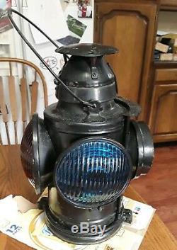VTG Railroad TRAIN Lantern Burner 4 lens Caboose Signal Handlan, St Louis