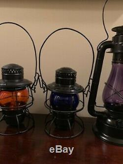 Very Rare Estate Lot Railroad Antique Lanterns Purple Blue Amber Red Dietz