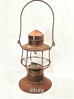 Vintage 1895 Patent Bell Bottom Railroad Lantern With Brass Top & Embossed Globe