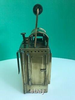 Vintage 1955 Brass German Carbide Railroad Conductors Lamp With Original Burner