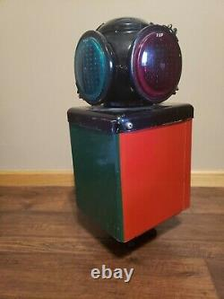 Vintage Adlake 4-way Signal Railroad Lamp 20 1/2 Inches Tall Stimson Lenses