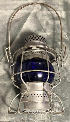 Vintage Adlake Kero ACL Atlantic Coast Line Blue Globe Railroad Train Lantern