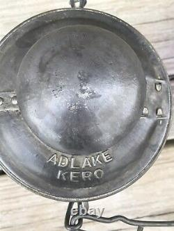Vintage Adlake-Kero Railroad Lantern with Burner & Blue Globe