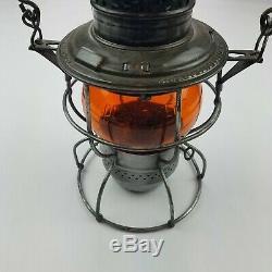 Vintage Adlake Kero Rock Island Railway Orange Globe Lantern Nx