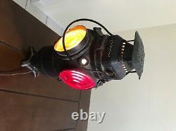 Vintage Adlake Non Sweating 4-Way Train Switch Marker Railroad Lamp Lantern