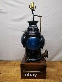 Vintage Adlake Non Sweating 4-Way Train Switch Marker Railroad Lamp Lantern B. R
