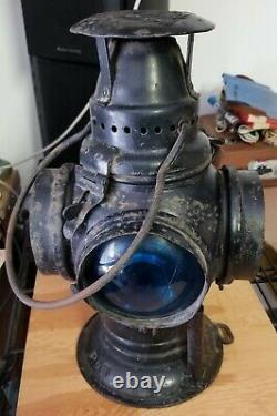 Vintage Adlake Non Sweating 4-Way Train Switch Marker Railroad Lamp Lantern Chi