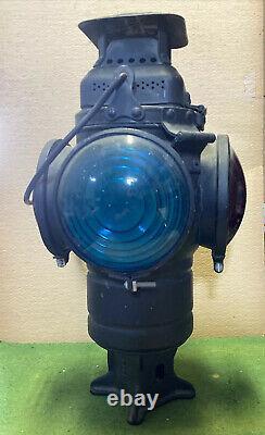 Vintage Adlake Non Sweating 4-Way Train Switch Marker Railroad Lamp Lantern PRR