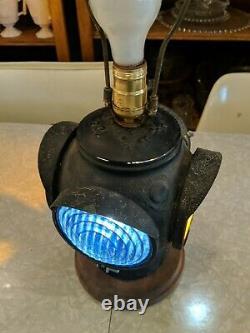 Vintage Antique Adlake 4 Way Railroad Lantern Electrified Lamp Light