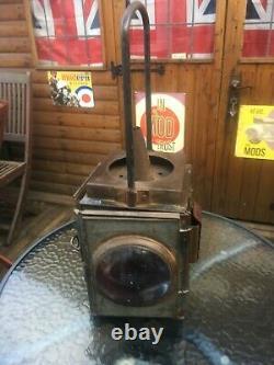 Vintage British Rail Hand Signal Lamp, Railway Guards Lantern 1920's