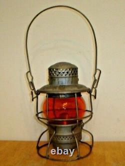 Vintage C. M. ST. P&P Adlake Railroad Lantern with Embossed Orange Kero Globe CMSTP&P