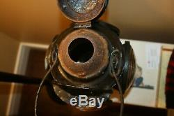 Vintage Canada Cnr Hlp M Railroad Railway Oil Signal Lamp Lantern -4 Clear Light
