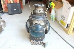 Vintage Canadian Pacific Railway CPR Caboose Lantern Blue Glass With Bracket