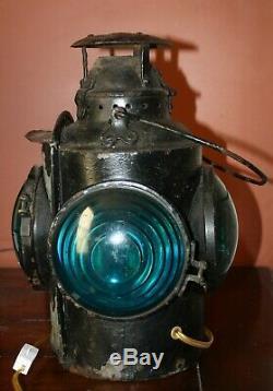 Vintage Cpr Hlp M Railroad Railway Caboose Marker Signal Lantern 4 Blue Light