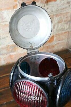 Vintage DRESSEL RR Railroad Marker Lamp 4 Lens Signal Lantern Switch Antique old