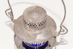 Vintage Dressel MKT Missouri Kansas Texas Railroad Kerosene Lantern withBlue Globe