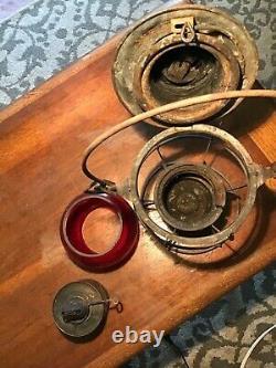 Vintage Dressel N. Y. C. S. Railroad Lantern With Red Embossed Cnx Glass Globe