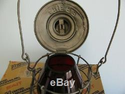 Vintage Erie Tall Dbl Wire Railroad Lantern With Red Cast Globe