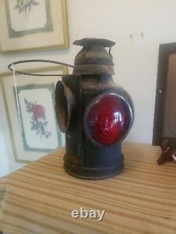 Vintage HANDLAN ST LOUIS 4-Way Train Switch Marker Railroad Lamp Lantern RARE