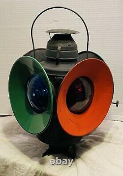 Vintage HANDLAN ST LOUIS USA 4-Way WABASH RAIL YARD Railroad Switch Signal Light
