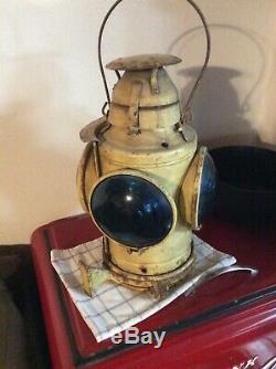 Vintage HANDLAN St. Louis Railroad Marker Lamp Train Lantern Signal RR 4-way