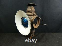 Vintage Non Sweating Adlake Lamp Railroad Signal Lamp Blue Lens