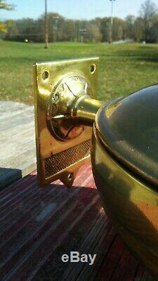 Vintage Norfolk & Western Railroad Brass Oil Lamp Adams & Westlake Pyrex Globe