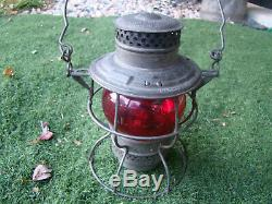 Vintage Old Adlake Kero Railroad Lantern UPRR Union Pacific Etched Red Globe