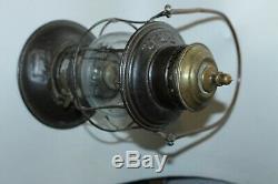 Vintage Pennsylvania Brass Top Railroad Lantern Embossed Tall Globe Rare
