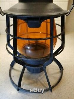 Vintage Railroad Lantern Dressel Railway With Amber Globe