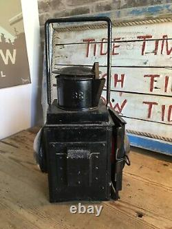 Vintage Railway British Rail BR (W) Guard Brake Van Side Lamp Oil Lantern