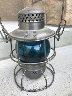 Vintage Railway/Railroad Lantern Blue Cobalt CNR