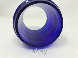 Vintage Rare COBALT BLUE CORNING RAILROAD LANTERN SHORT GLOBE approx 3 1/2 tall