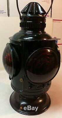 Vintage Rare Ny Nh & H Railroad Kerosene Lantern Four Way Train Marker Lamp