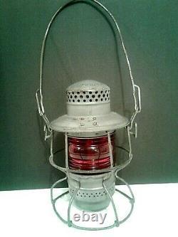 Vintage SOU-RY Southern Railroad Train Lantern Red Ribbed Globe Ad Lake-Kero